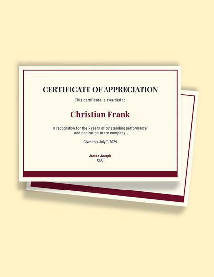 5 Year Work Anniversary Certificate Template