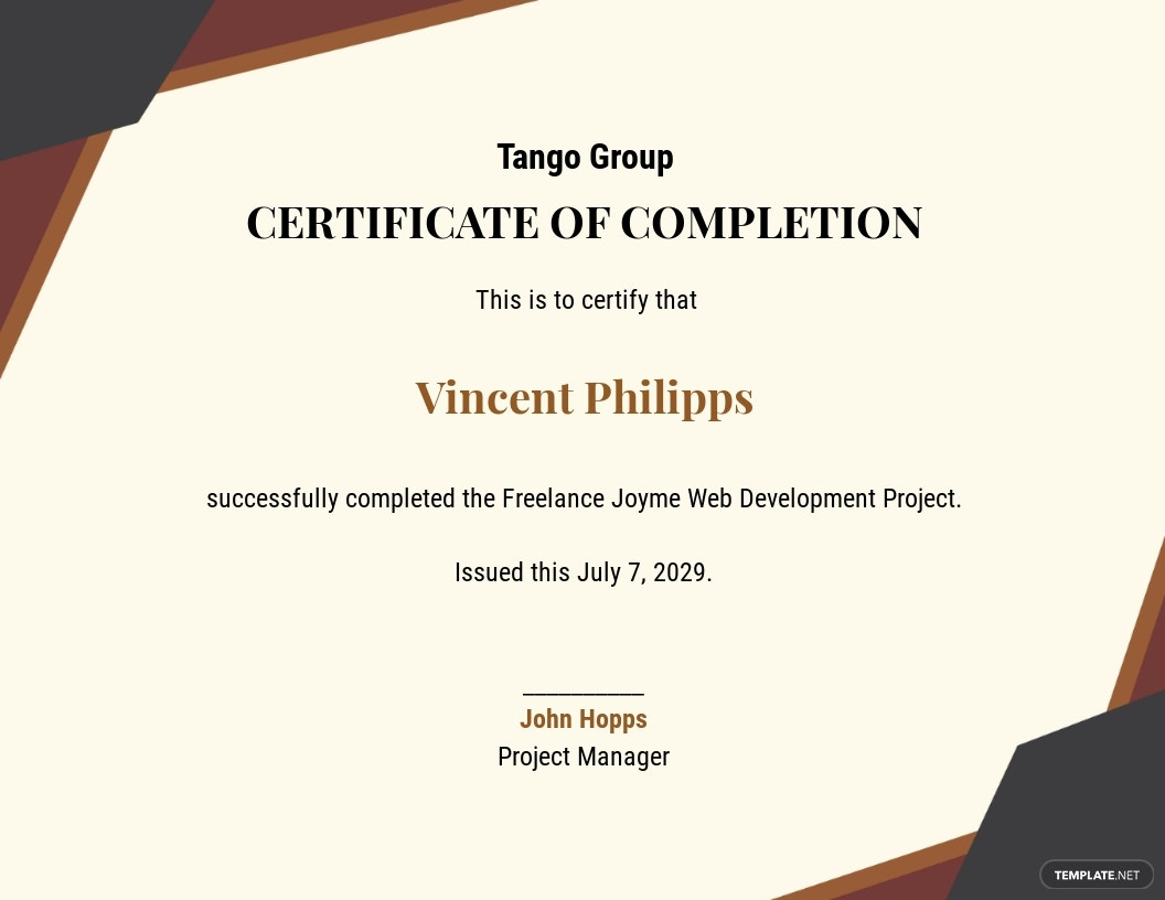 Project Work Completion Certificate Template