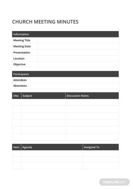 Sample Church Meeting Minutes Template