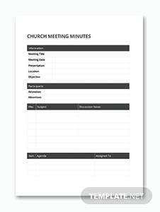 Church Meeting Minutes Template in Microsoft Word, PDF   Template.net