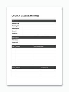 Sample Church Meeting Minutes Template