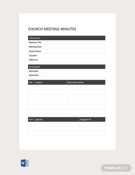 Free Sample Church Meeting Minutes Template