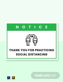 Free Notice: Thank You For Practicing Social Distancing Label Template