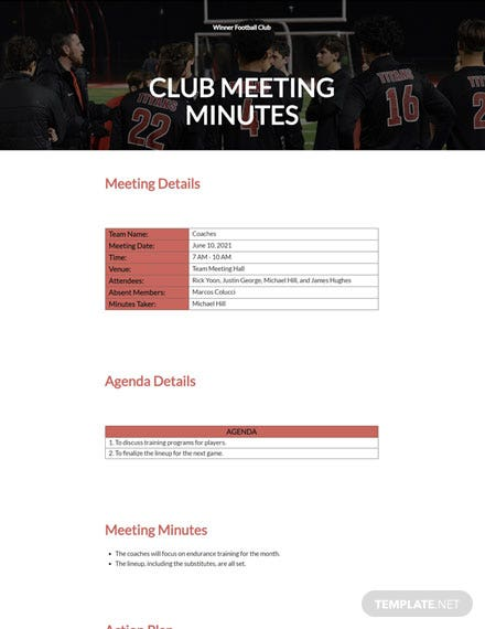 Free Club Meeting Minutes Template
