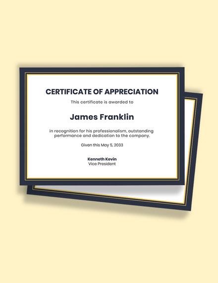 Certificate of Hard Work