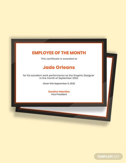 Free Blank Employee of the Month Certificate Template