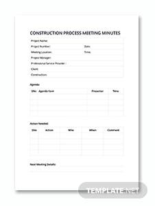 Construction Process Meeting Minutes Template