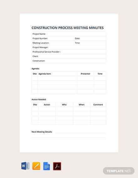 Free Construction Process Meeting Minutes Template