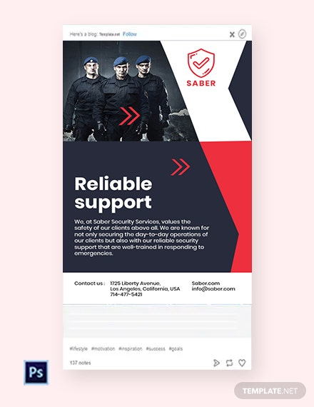 Free Security Guard Services Tumblr Post Template