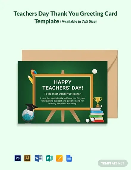 Free Teachers Day Thank You Greeting Card Template