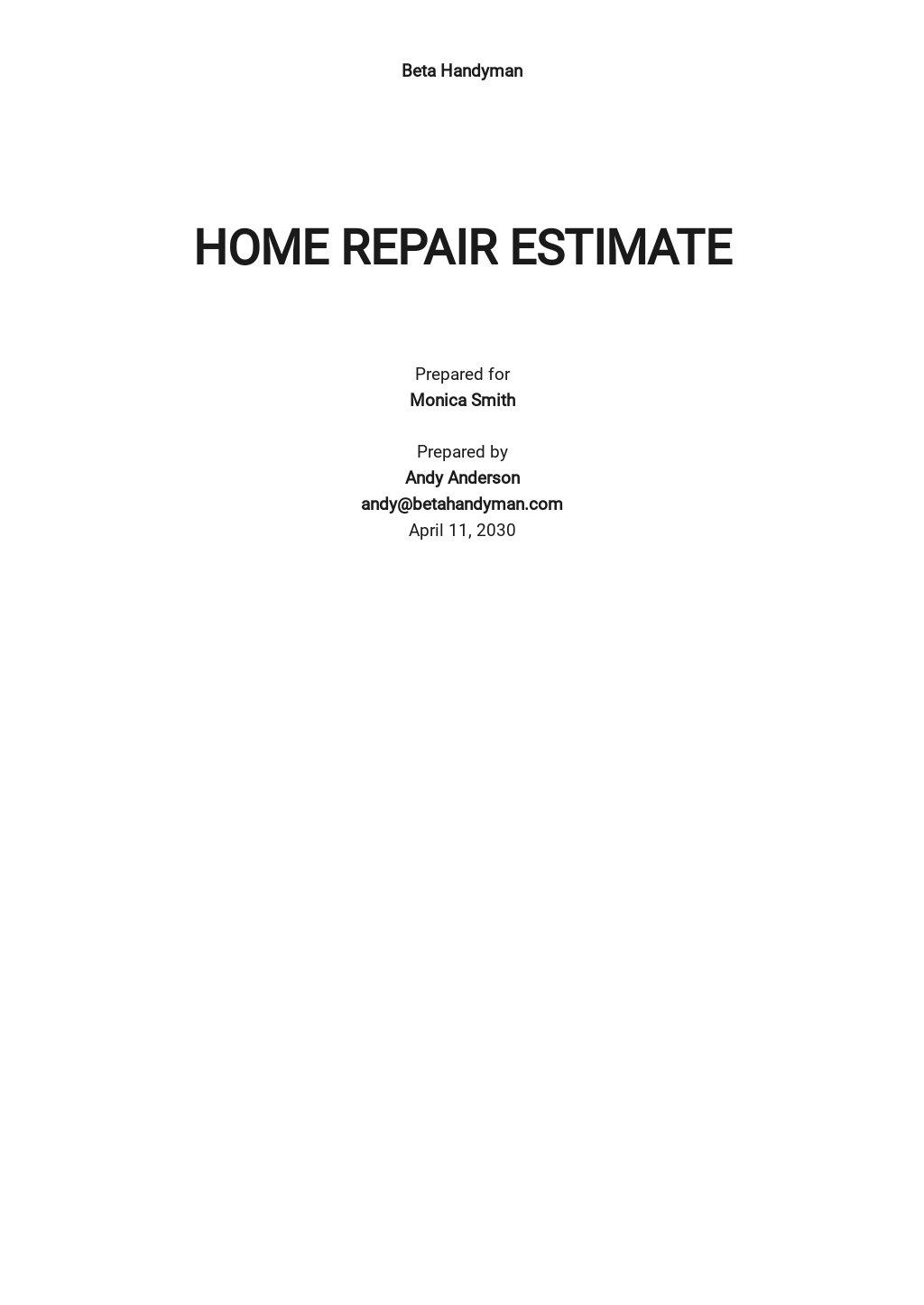 Free Home Repair Estimate Template.jpe