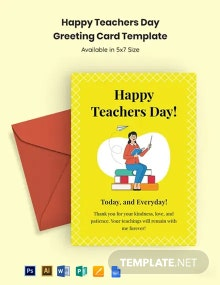 Happy Teachers Day Greeting Card Template