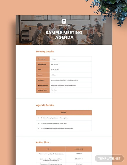 Free Sample Meeting Agenda Template