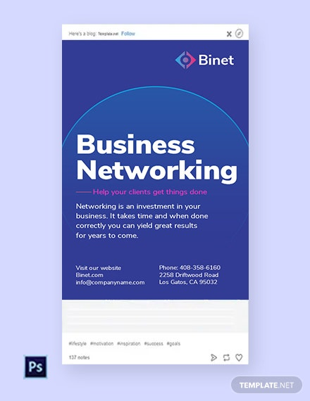 Free Business Networking Tumblr Post Template