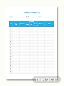 mileage log for employee template