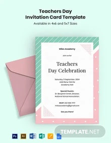Free Teachers Day Invitation Card Template