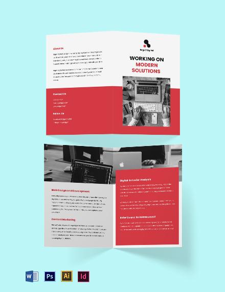 Digital Agency Bi-Fold Brochure Template