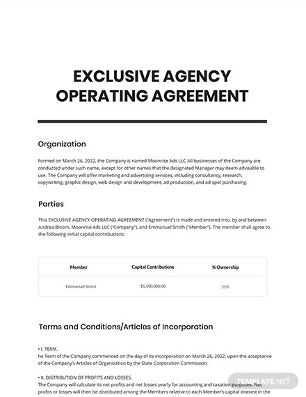 Exclusive Agency Agreement Template