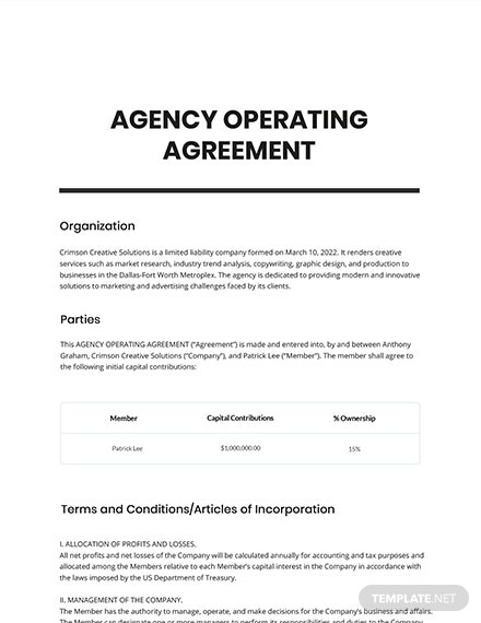 Free Sample Agency Agreement Template