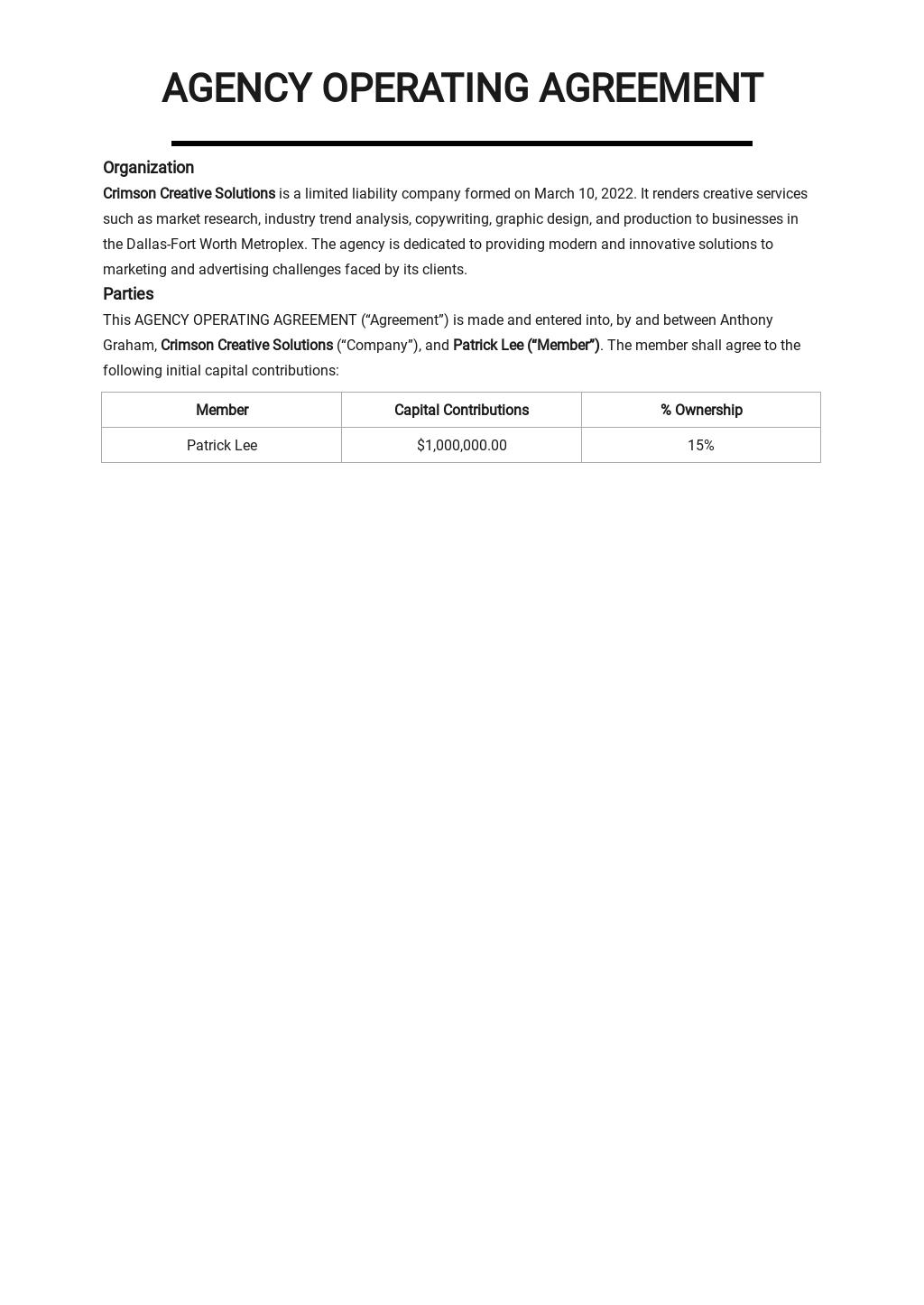 Free Sample Agency Agreement Template.jpe