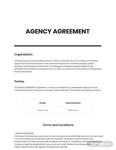 Free Agency Agreement Example Template