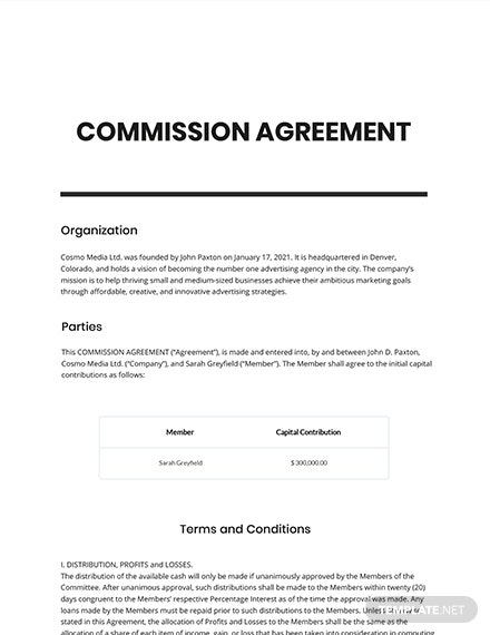 Agency Commission Agreement Template