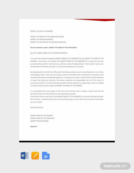 Free Letter Template of Recommendation for Award