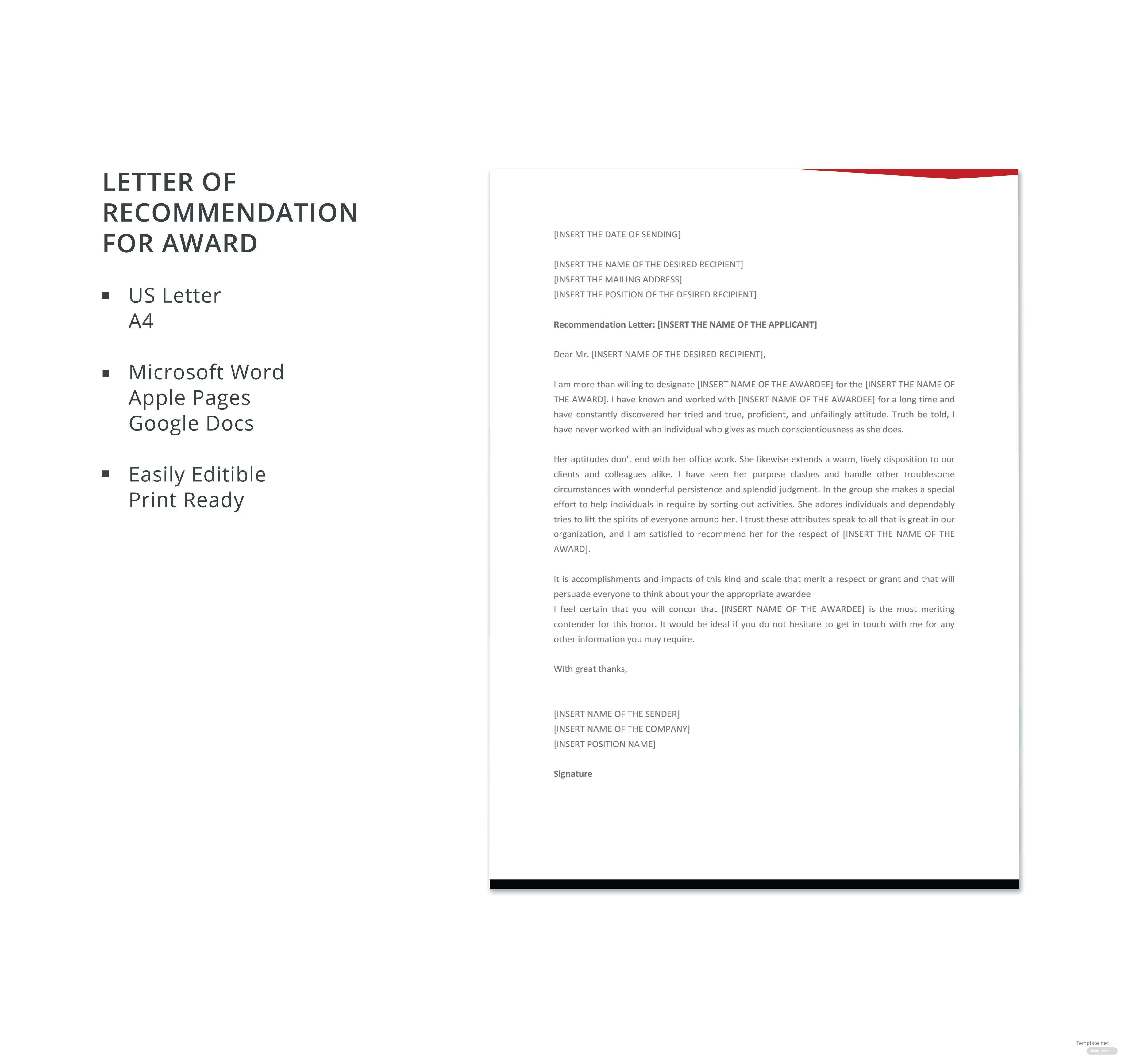 Free letter template of recommendation for award in microsoft word apple pages google docs for Google docs award template
