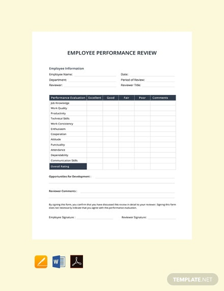Free Performance Evaluation Template