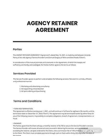 Agency Retainer Agreement Template