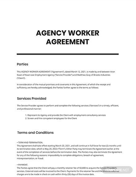 Agency Worker Agreement Template