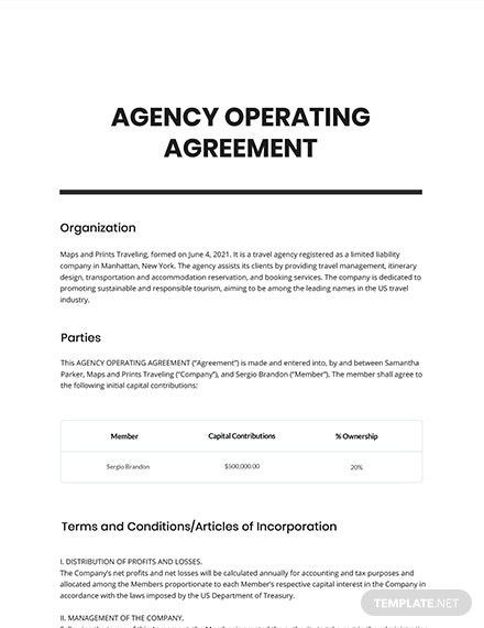 Free Simple Agency Agreement Template
