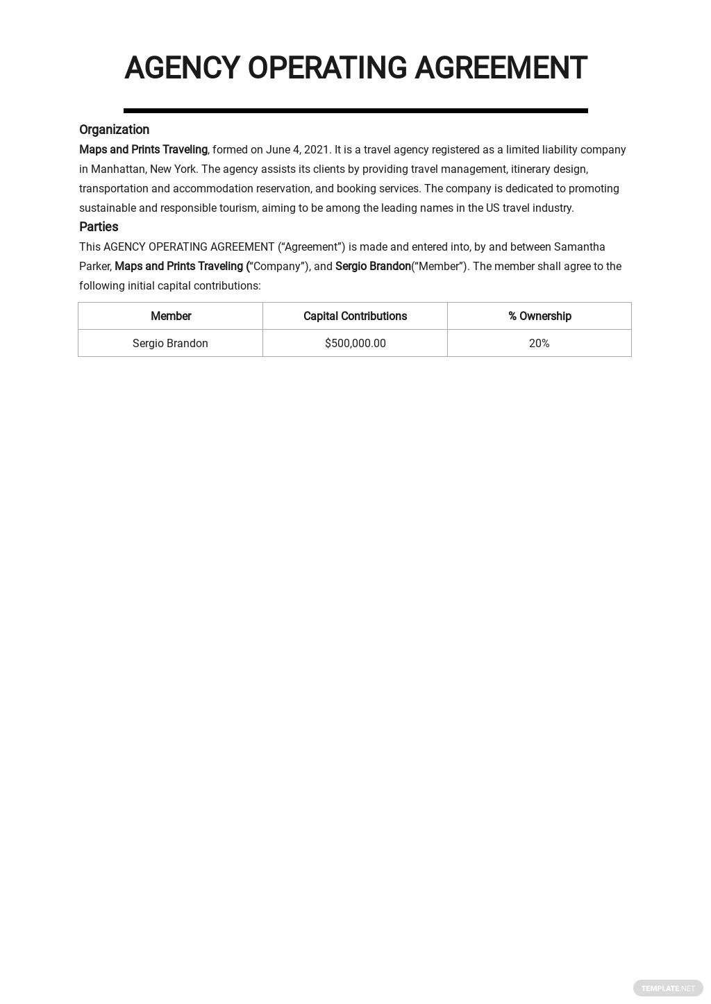 Simple Agency Agreement Template