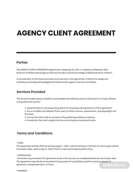 Agency Client Agreement Template