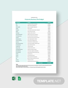 Corporate Business Plan Budget Template