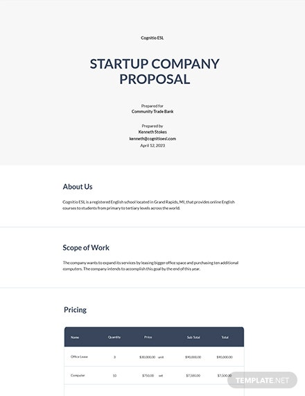 Startup Company Proposal Template