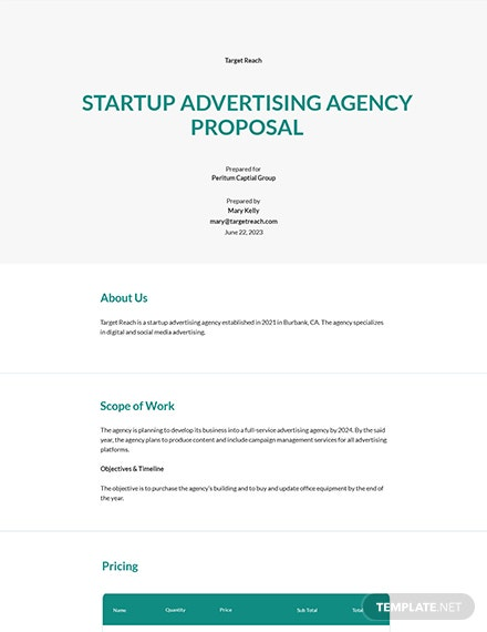 Startup Advertising Agency Proposal Template