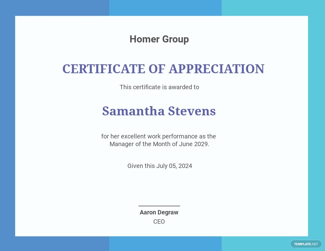Employee of the Month Certificate for Small Managers Template