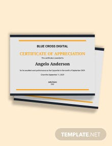 Free  Appreciation Employee of the Month Certificate Template