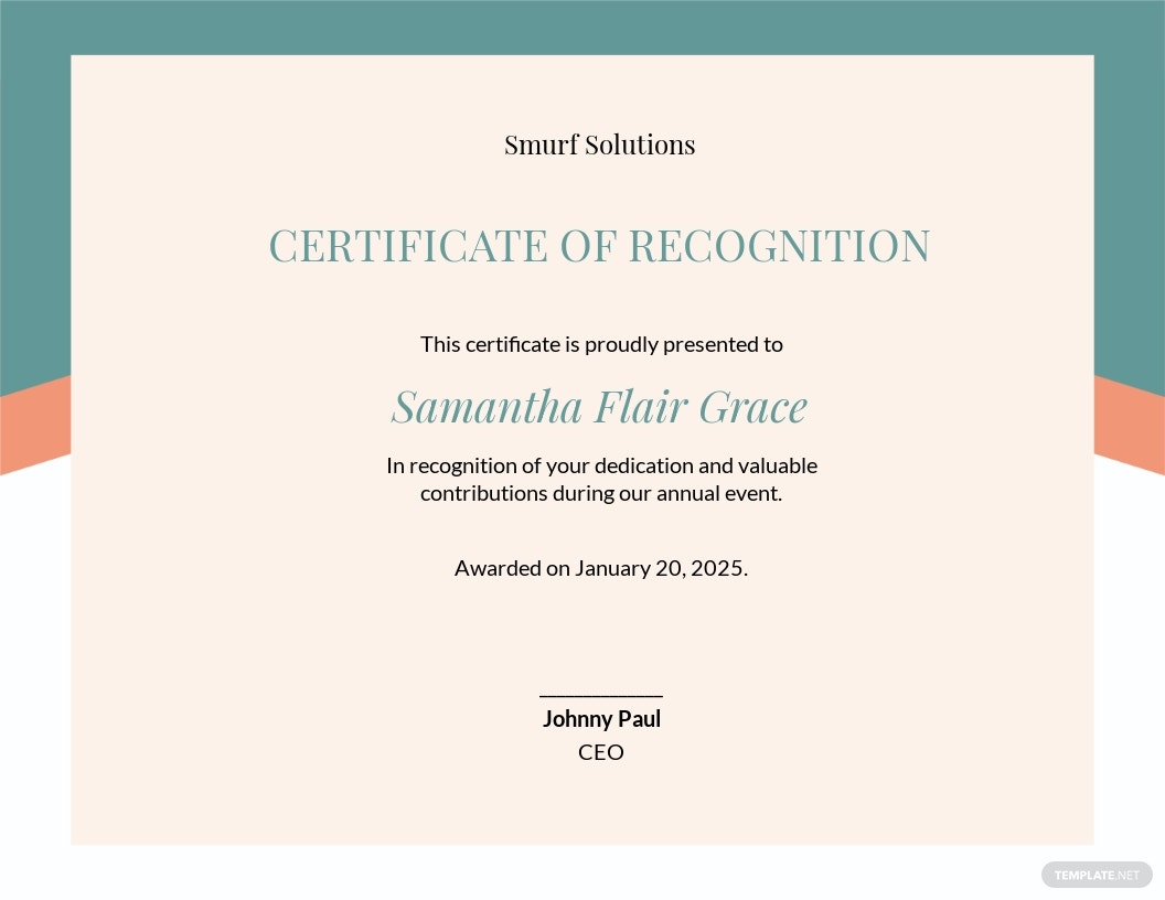 Volunteer Recognition Certificate Template