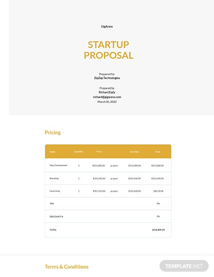 One Page Startup Proposal Template