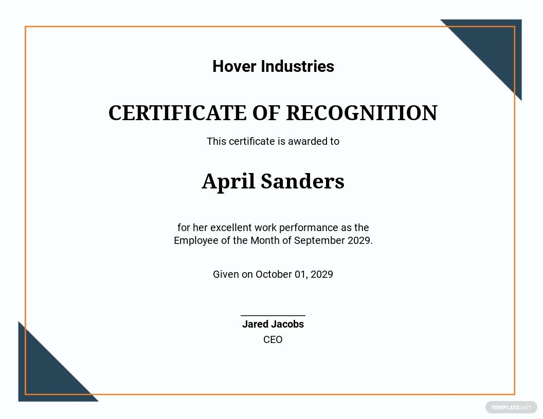 Free Employee of the Month Certificate of Recognition Template.jpe