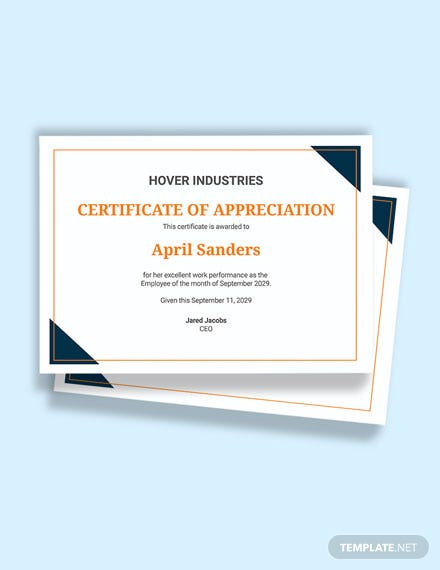 Free Employee of the Month Certificate of Recognition Template