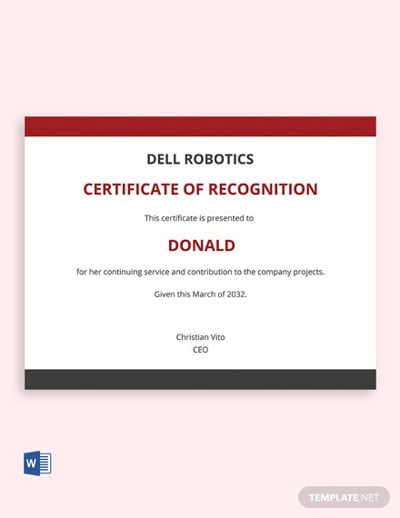 Service Recognition Certificate Template