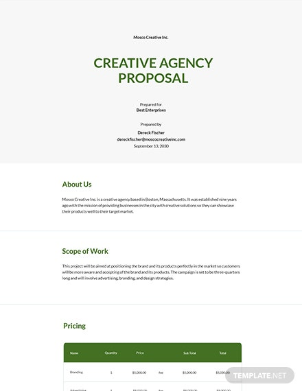 Free Creative Agency Proposal Template
