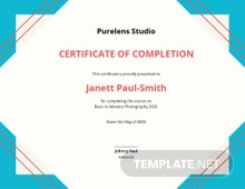 Photography Course Certificate Template