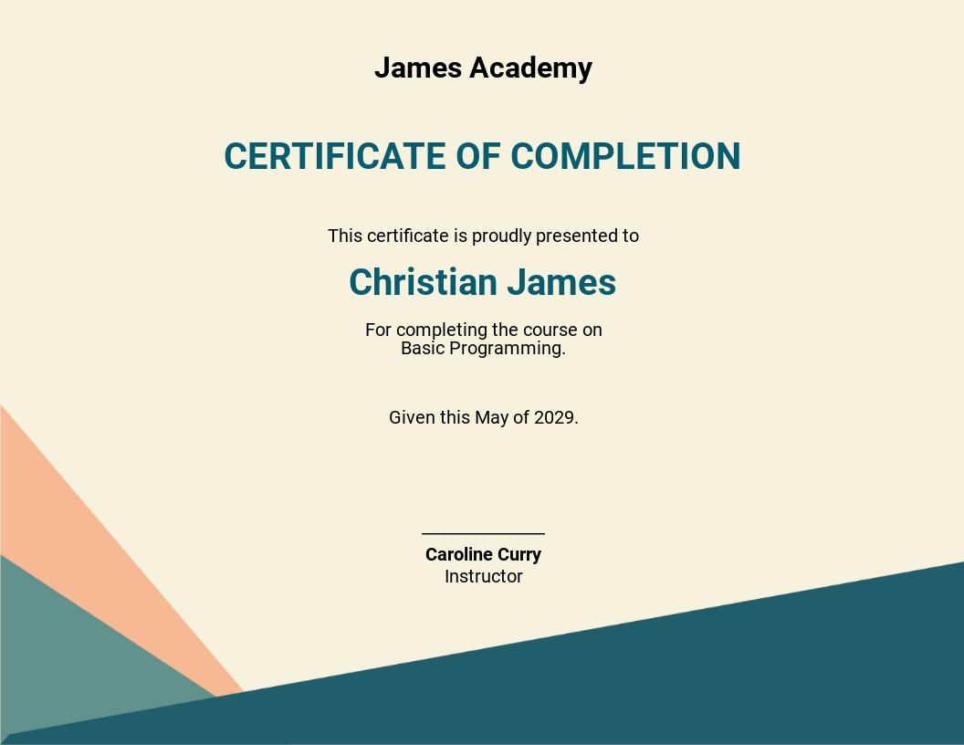 Course Participation Certificate Template