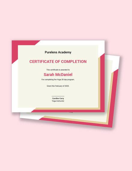 Free Yoga Training Certificate Template