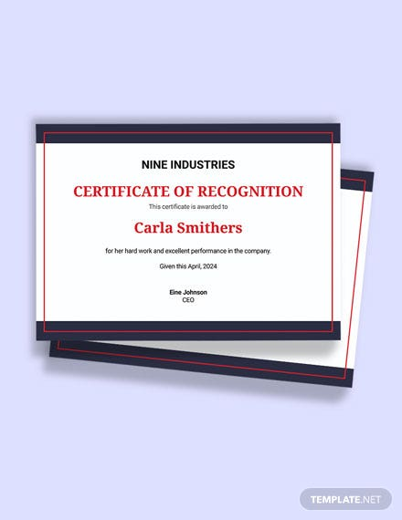 Free Sample Recognition Certificate Template