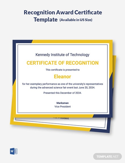 Recognition Award Certificate Template